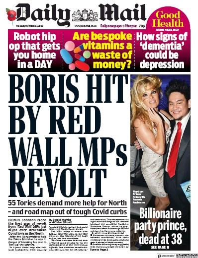 Daily Mail Newspaper Front Page (UK) for 27 October 2020