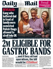 Daily Mail (UK) Newspaper Front Page for 27 November 2014