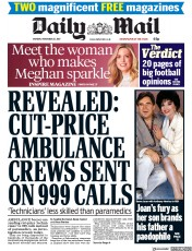 Daily Mail (UK) Newspaper Front Page for 27 November 2017