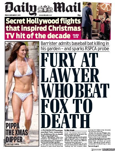 Daily Mail Newspaper Front Page (UK) for 27 December 2019