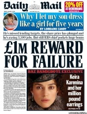 Daily Mail () Newspaper Front Page for 27 January 2012