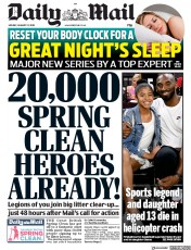 Daily Mail (UK) Newspaper Front Page for 27 January 2020