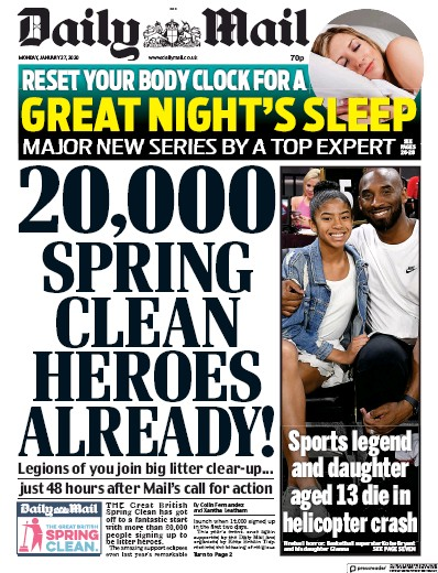 Daily Mail Newspaper Front Page (UK) for 27 January 2020