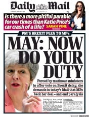 Daily Mail (UK) Newspaper Front Page for 27 February 2019