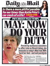 Daily Mail () Newspaper Front Page for 27 February 2019