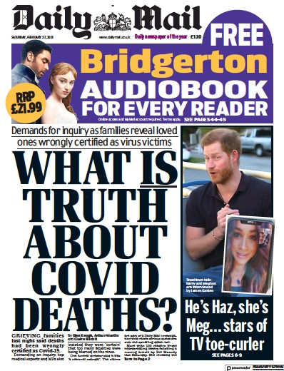 Daily Mail Newspaper Front Page (UK) for 27 February 2021