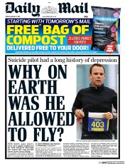 Daily Mail (UK) Newspaper Front Page for 27 March 2015