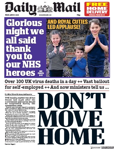 Daily Mail Newspaper Front Page (UK) for 27 March 2020
