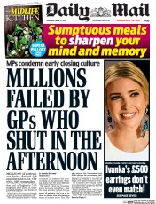 Daily Mail (UK) Newspaper Front Page for 27 April 2017