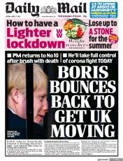 Daily Mail (UK) Newspaper Front Page for 27 April 2020