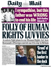 Daily Mail (UK) Newspaper Front Page for 27 May 2015
