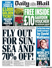 Daily Mail front page for 27 June 2020