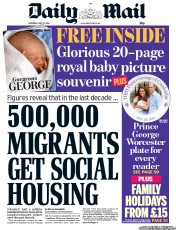 Daily Mail () Newspaper Front Page for 27 July 2013