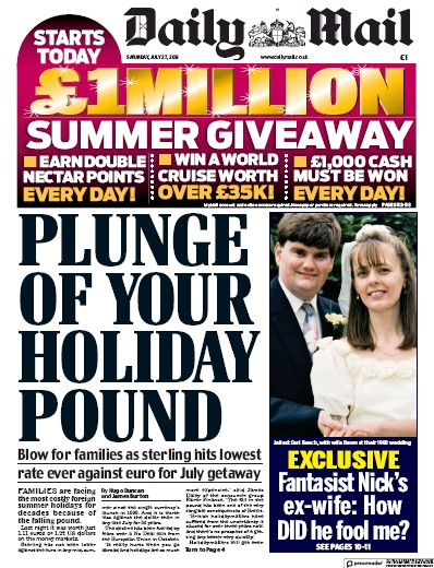 Daily Mail Newspaper Front Page (UK) for 27 July 2019