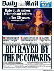 Daily Mail (UK) Newspaper Front Page for 27 August 2014