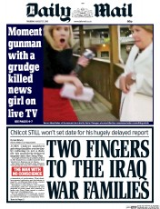 Daily Mail (UK) Newspaper Front Page for 27 August 2015