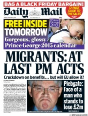 Daily Mail (UK) Newspaper Front Page for 28 November 2014