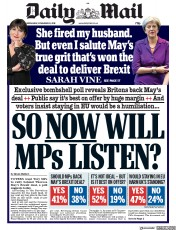 Daily Mail (UK) Newspaper Front Page for 28 November 2018