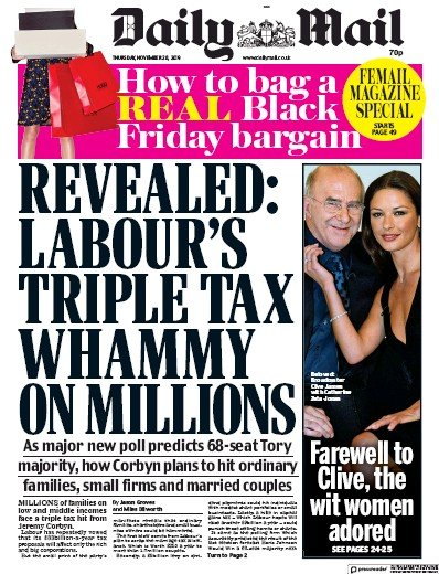 Daily Mail Newspaper Front Page (UK) for 28 November 2019