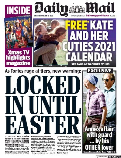 Daily Mail Newspaper Front Page (UK) for 28 November 2020