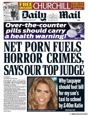 Daily Mail (UK) Newspaper Front Page for 28 January 2015