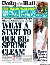 Daily Mail (UK) Newspaper Front Page for 28 January 2019