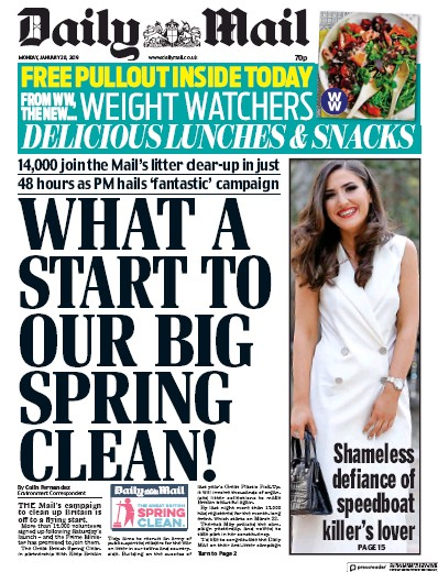 Daily Mail Newspaper Front Page (UK) for 28 January 2019