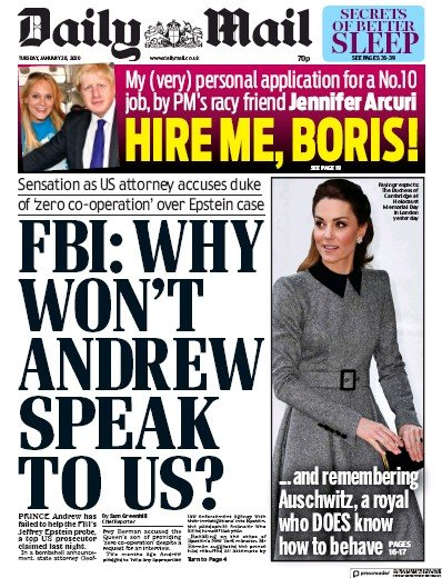 Daily Mail Newspaper Front Page (UK) for 28 January 2020