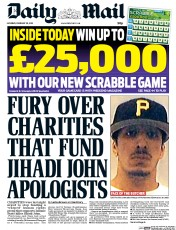 Daily Mail (UK) Newspaper Front Page for 28 February 2015