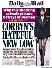 Daily Mail (UK) Newspaper Front Page for 28 February 2019