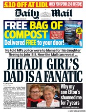 Daily Mail (UK) Newspaper Front Page for 28 March 2015