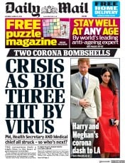 Daily Mail front page for 28 March 2020