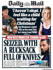 Daily Mail (UK) Newspaper Front Page for 28 April 2017