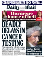 Daily Mail (UK) Newspaper Front Page for 28 May 2015