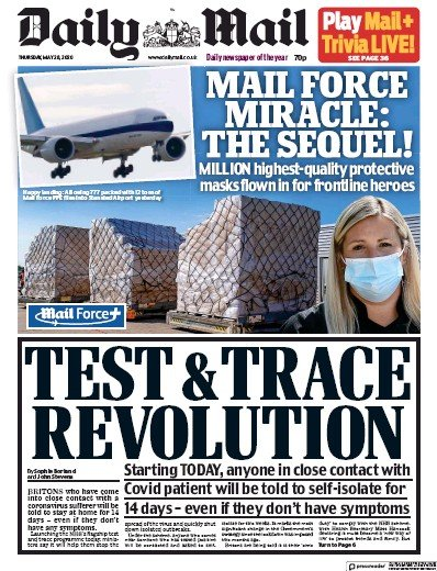 Daily Mail Newspaper Front Page (UK) for 28 May 2020