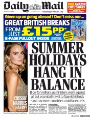 Daily Mail front page for 28 July 2020