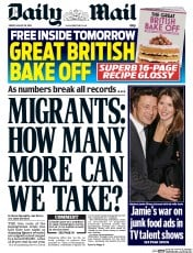 Daily Mail Newspaper Front Page (UK) for 28 August 2015