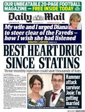 Daily Mail (UK) Newspaper Front Page for 28 August 2017