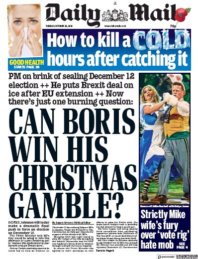Daily Mail Newspaper Front Page (UK) for 29 October 2019