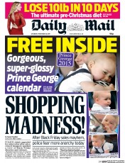 Daily Mail (UK) Newspaper Front Page for 29 November 2014
