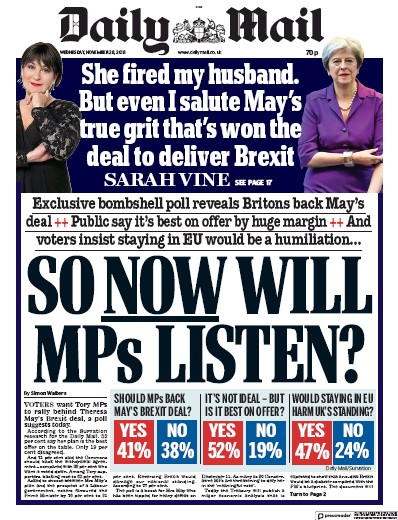 Daily Mail Newspaper Front Page (UK) for 29 November 2018