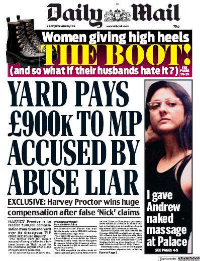 Daily Mail Newspaper Front Page (UK) for 29 November 2019