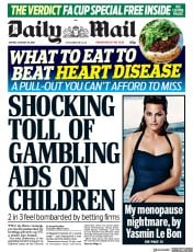 Daily Mail (UK) Newspaper Front Page for 29 January 2018