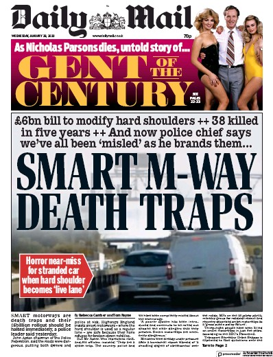 Daily Mail Newspaper Front Page (UK) for 29 January 2020