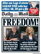 Daily Mail (UK) Newspaper Front Page for 29 March 2017