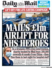 Daily Mail (UK) Newspaper Front Page for 29 April 2020