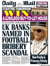 Daily Mail (UK) Newspaper Front Page for 29 May 2015