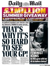Daily Mail (UK) Newspaper Front Page for 29 July 2019