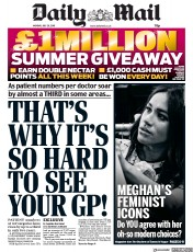 Daily Mail () Newspaper Front Page for 29 July 2019