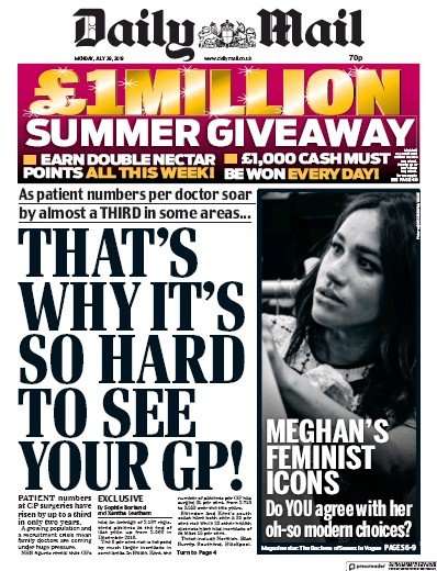 Daily Mail Newspaper Front Page (UK) for 29 July 2019